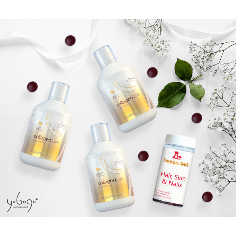 Kollagén szépség csomag - 3 db Yobogu Collagen Luxe +1 db haj gumivitamin
