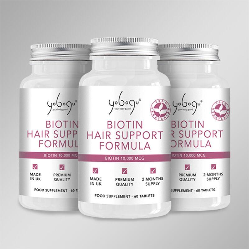 Tripla adag Biotin Hair Support Formula- Natúr Vegán kapszula az anyagcsereműködés normalizásáért folyamatos 20% kedvezménnyel!